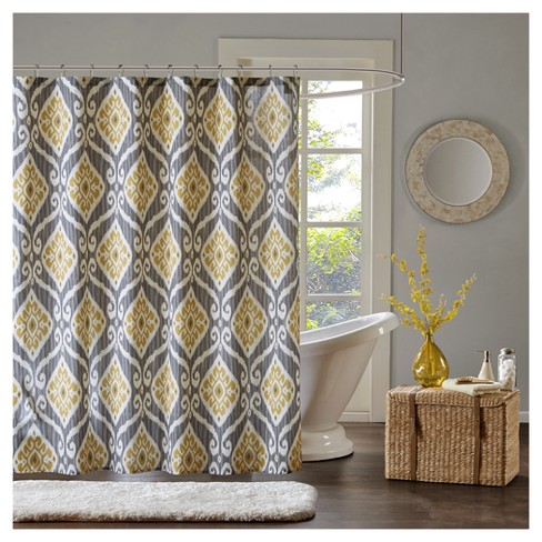 Ikat Design Shower Curtain Yellow - image 1 of 1