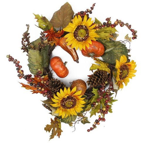 Northlight Pumpkin and Sunflower Artificial Thanksgiving Wreath - 24-Inch, Unlit - image 1 of 1