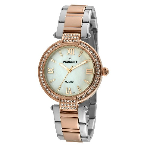 32be4ee7577ec Peugeot Women s Two tone crystal bezel watch