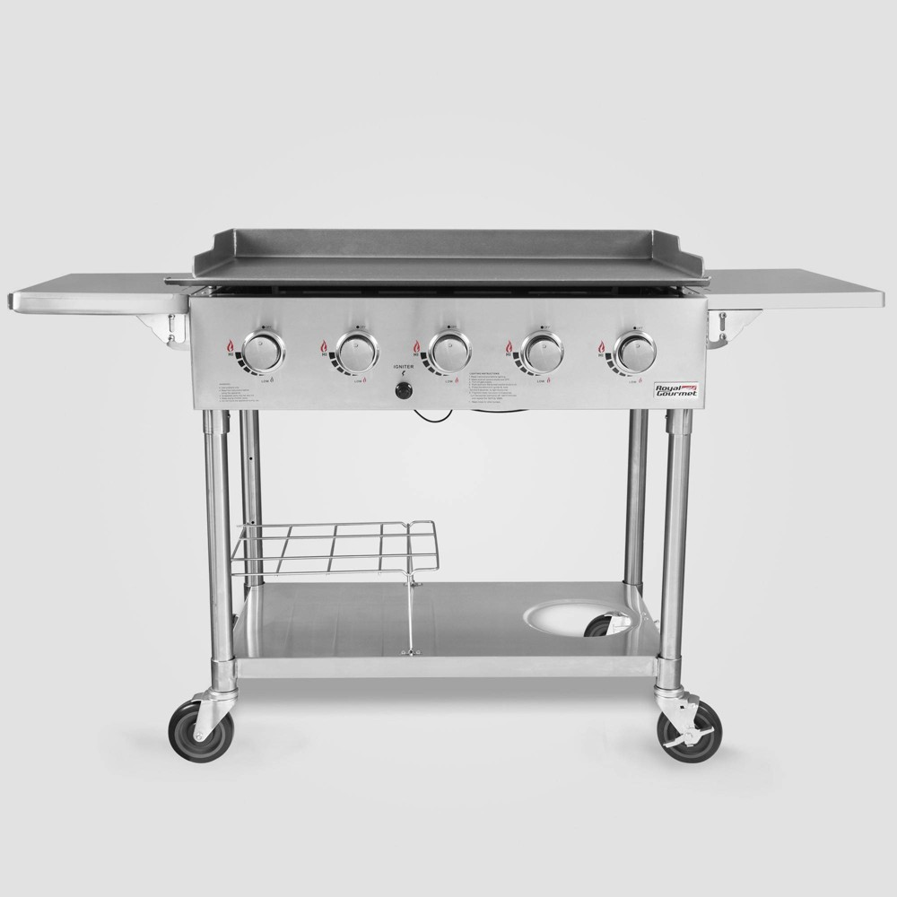 Stainless Steel 5 Burner Propane Gas Grill Griddle GB5000S Silver – Royal Gourmet 54442129