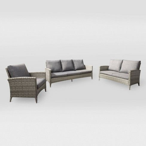 Parkview 3pc Sofa Loveseat Chair Patio Set - Light Gray - CorLiving - image 1 of 7