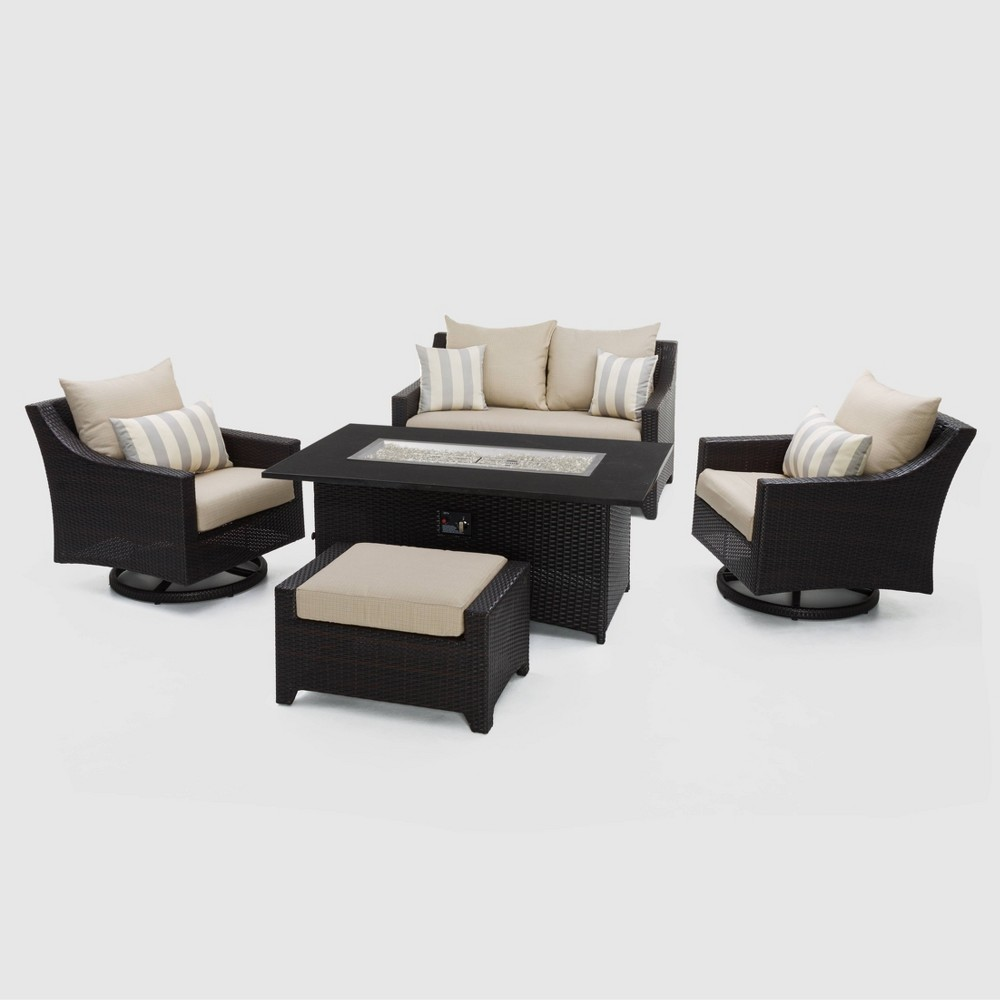 Rst Brands Deco 5 Piece Woven Love and Motion Club Chair Fire Set with Slate Gray Cushions, Slate Grey