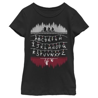 Girl's Stranger Things Christmas Light Message T-Shirt