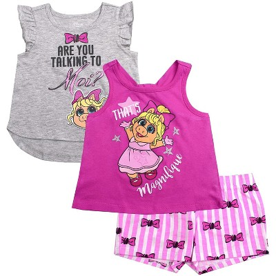 Disney Girl's 3-Pack Miss Piggy Short Set with Tank Tops and Print Shorts, Grey, 4T