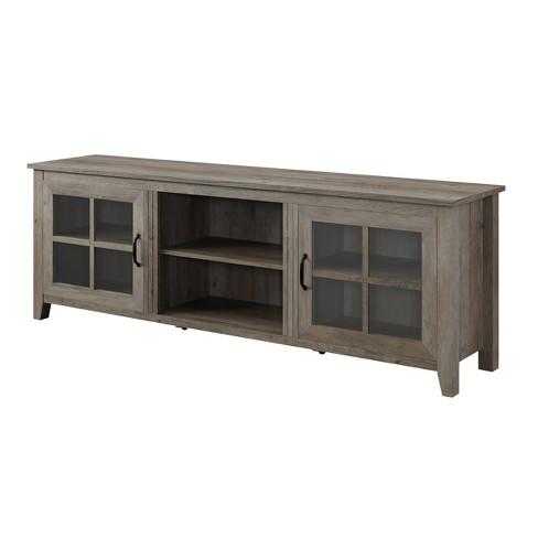 70 Farmhouse Wood Gl Door Tv Stand Gray Wash Saracina Home