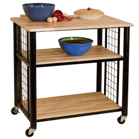 Wood Contemporary Kitchen Cart in Black - Catskill Craftsmen
