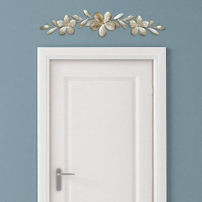 """8"""" x 38"""" Flower Over the Door Wall Décor Champagne - Stratton Home Décor"""