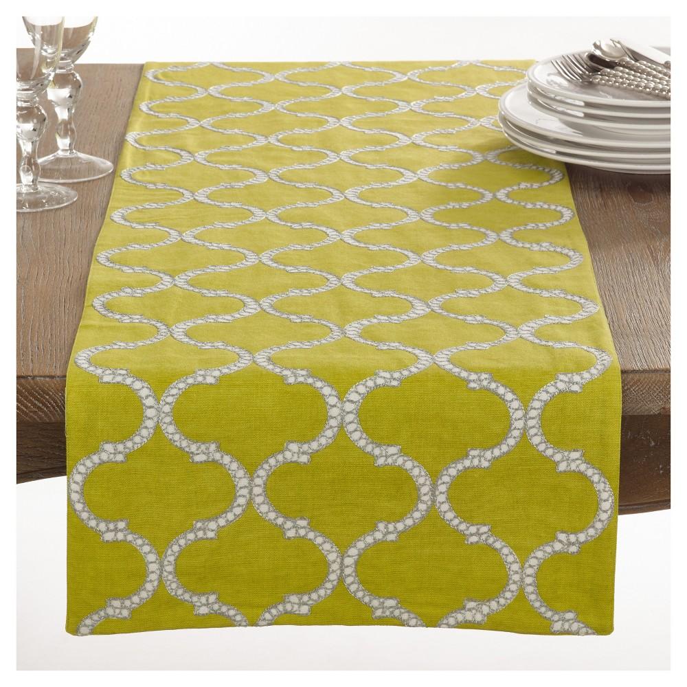 Green Dastan Stitched Lattice Design Table Runner (16