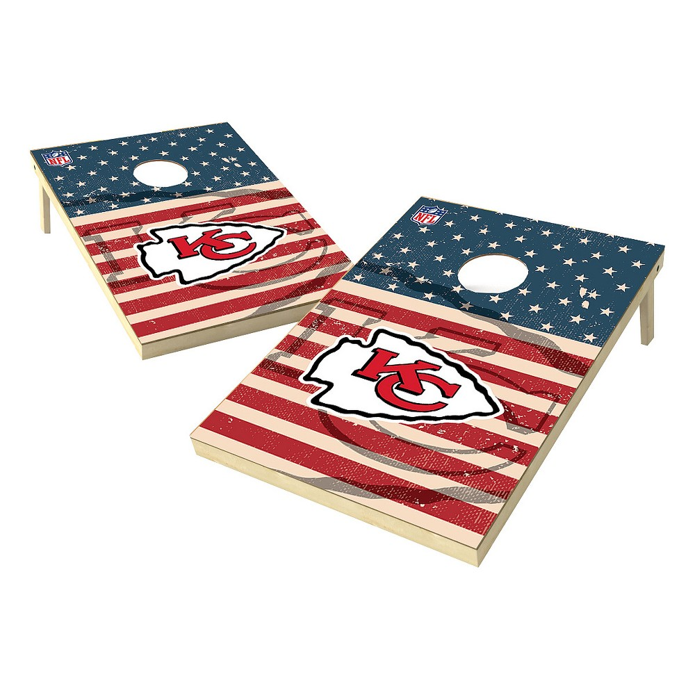 NFL Kansas City Chiefs Wild Sports Worn Shadow Stars and Stripes 2x3ft. Cornhole Bean Bag Toss Set