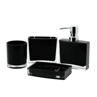 4pc Krystal Bathware Acrylic Bath Accessory Combo Black - Kingston Brass