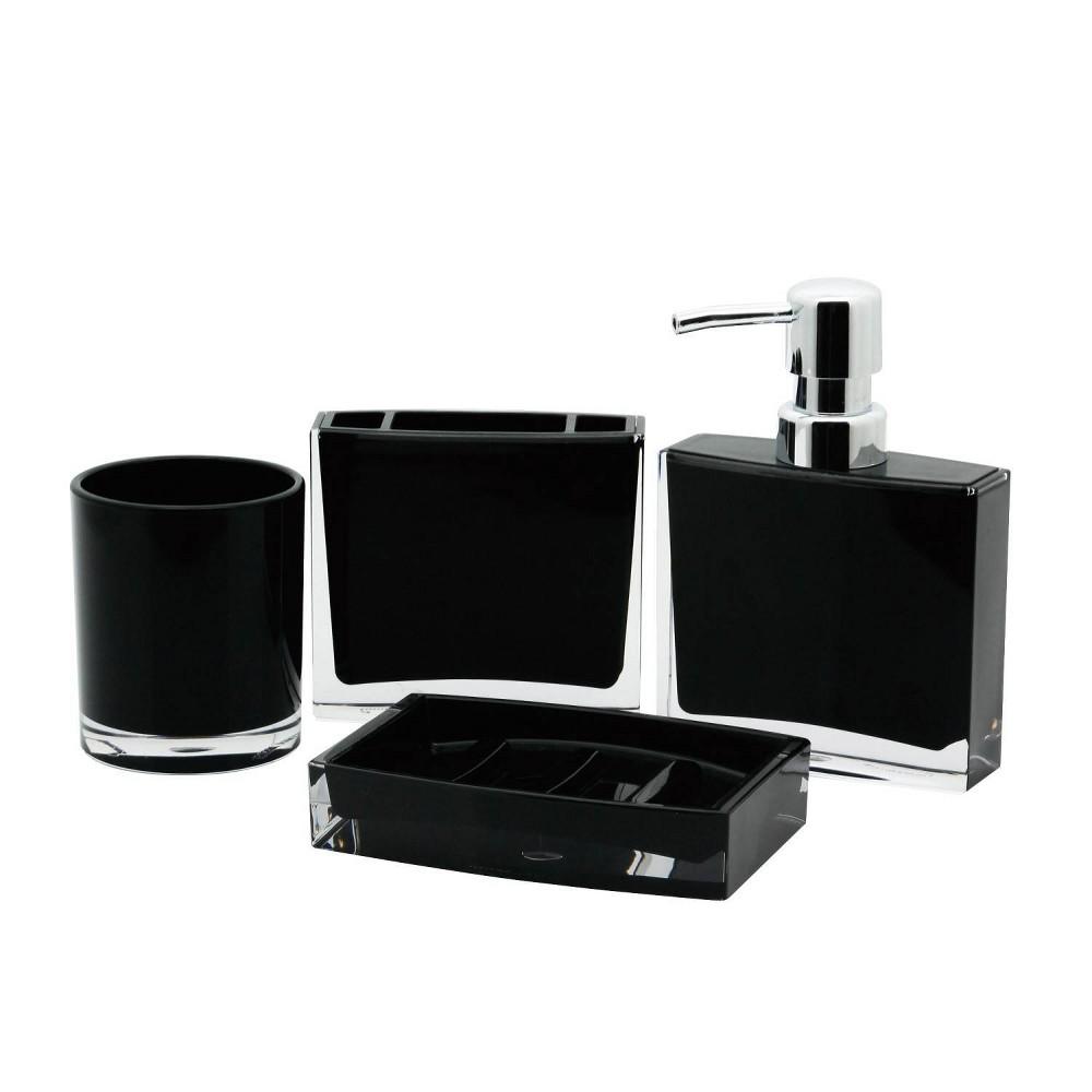 Image of 4pc Krystal Bathware Acrylic Bath Accessory Combo Black - Kingston Brass