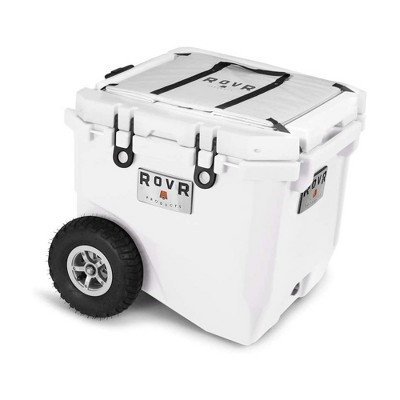RovR RollR Portable Rolling Outdoor Insulated Cooler with Wheels for Camping, Beach, Picnics, 45 Quart, White