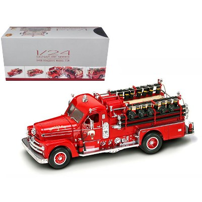 1958 Seagrave 750 Fire Engine Truck Red with Accessories 1/24 Diecast Model by Road Signature