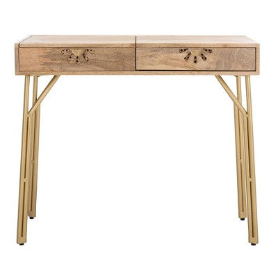 Lily 2 Drawer Vanity with Mirror Natural/Brass - Safavieh