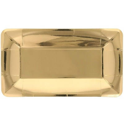 Juvale 24 Pack Gold Foil Rectangular Disposable Paper Appetizer Plates 9 X 5 In Round Target