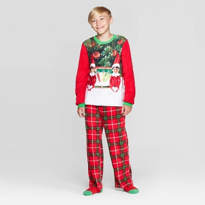 Boys' Elf On The Shelf 2pc Pajama Set With Socks   Red by Elf On The Shelf