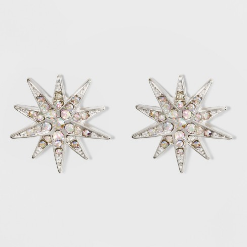 Snowflake Stud Earrings A New Day Silver Clear