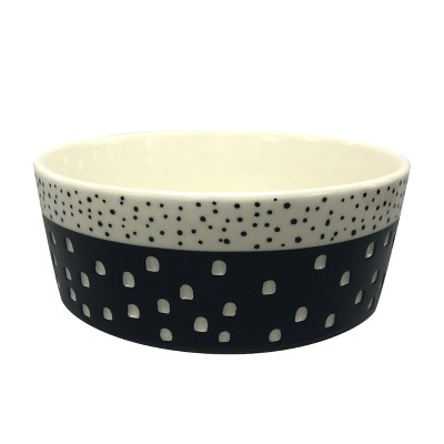 Stoneware Pet Bowl with Carved Pattern - Boots & Barkley™