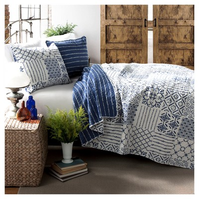 Monique 3 Piece Quilt (Full/Queen)Blue - Lush Décor