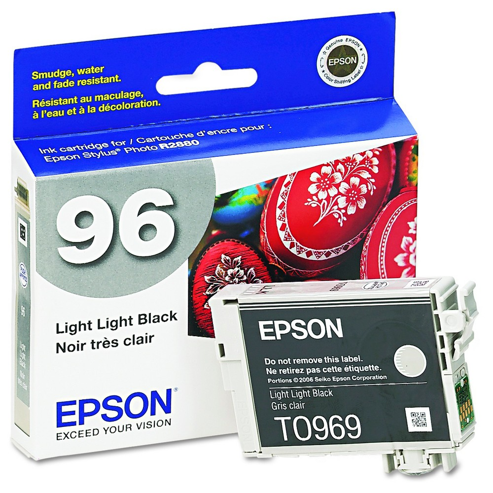 Epson 96 Single Ink Cartridge - Black (EPST096920) Brilliant color is delivered with the Epson Stylus Photo Printer UltraChrome K3 Ink Cartridge - Black (EPST096920). The Epson printer ink works with high-volume print jobs to deliver consistent color on your professional and home-based print jobs. The printer ink cartridge is compatible with the Epson Stylus Photo R2880.