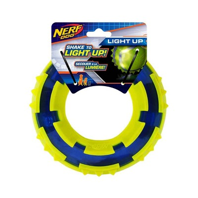 """NERF TPR LED Spike Ring Dog Toy - Green/Blue - 6"""""""