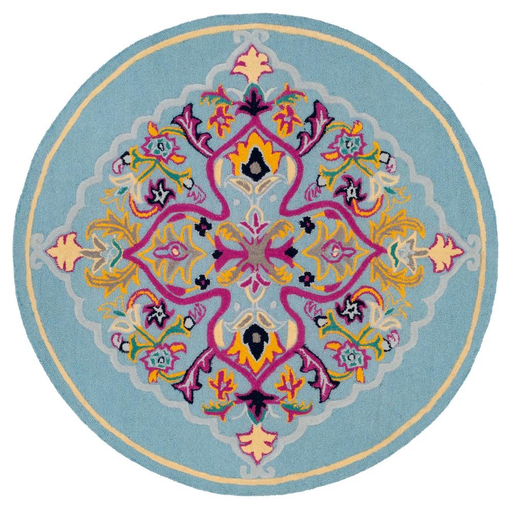 Light Medallion Tufted Round Area Rug 5' - Safavieh, Light Blue/Multi