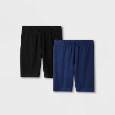 Girls' 2pk Mid-Length Bike Shorts - Cat & Jack™ Black/Navy