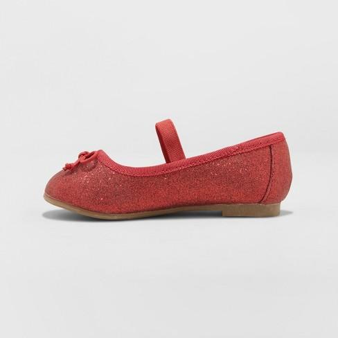 2aefcef26d4 Toddler Girls  Ani Glitter Ballet Flats - Cat   Jack™ Red   Target