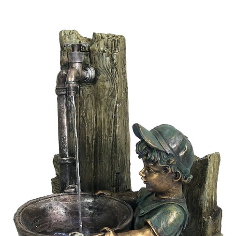 30 Boy And Dog Fetching Water Outdoor Fountain With Led Lights Sunnydaze Decor Target