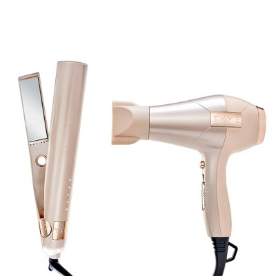 TYME Iron Pro 2-in-1 Hair Curler and Straightener with 5 Adjustable Heat Settings and Titanium Plates with TYME Blowtyme Hair Dryer