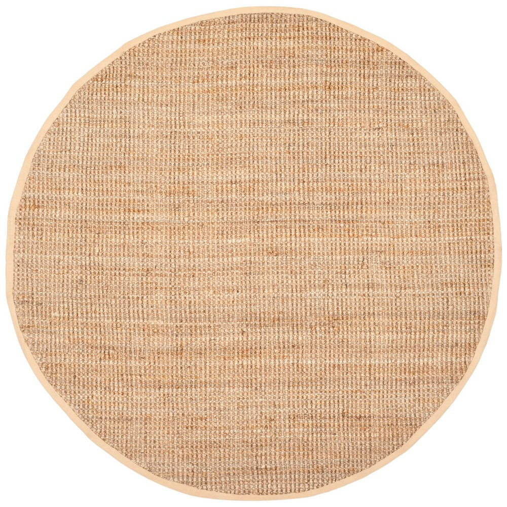 7' Solid Woven Round Area Rug Brown - Safavieh, White