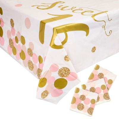 """3 Pack Sweet 16 Birthday Party Tablecloth Table Cover, Party Supplies Favors Decorations for Girls Kids, 54 x 108"""""""