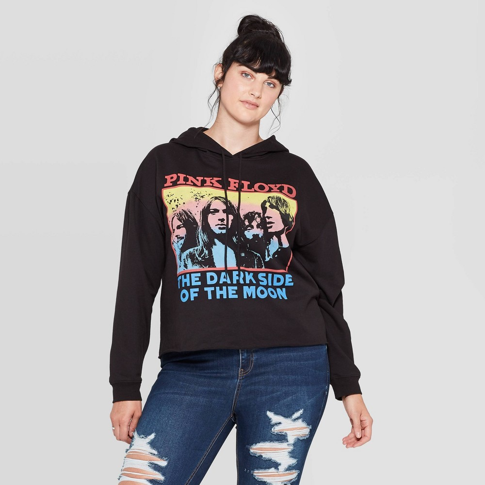 Image of Women's Pink Floyd Plus Size Fleece Graphic Hoodie (Juniors') - Black 1X, Women's, Size: 1XL