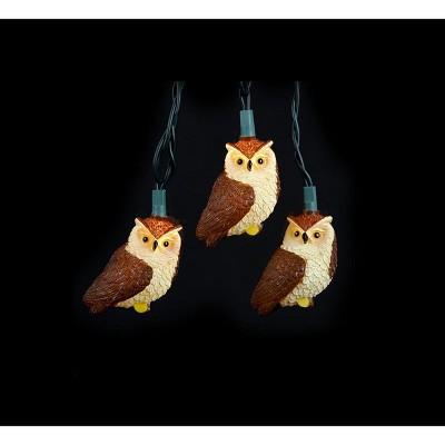 Kurt S. Adler 10ct Owl Bird Novelty Christmas Lights Brown - 10' Green Wire