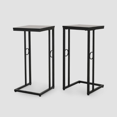 Set of 2 Bader Modern C-Shaped Side Table Black - Christopher Knight Home