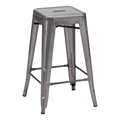 """Set of 2 26"""" Rustic Industrial Bistro Style Counter Height Barstool - Gunmetal - ZM Home"""