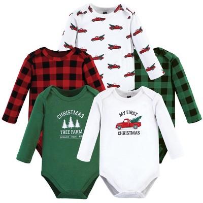 Hudson Baby Unisex Baby Cotton Long-Sleeve Bodysuits, Christmas Tree