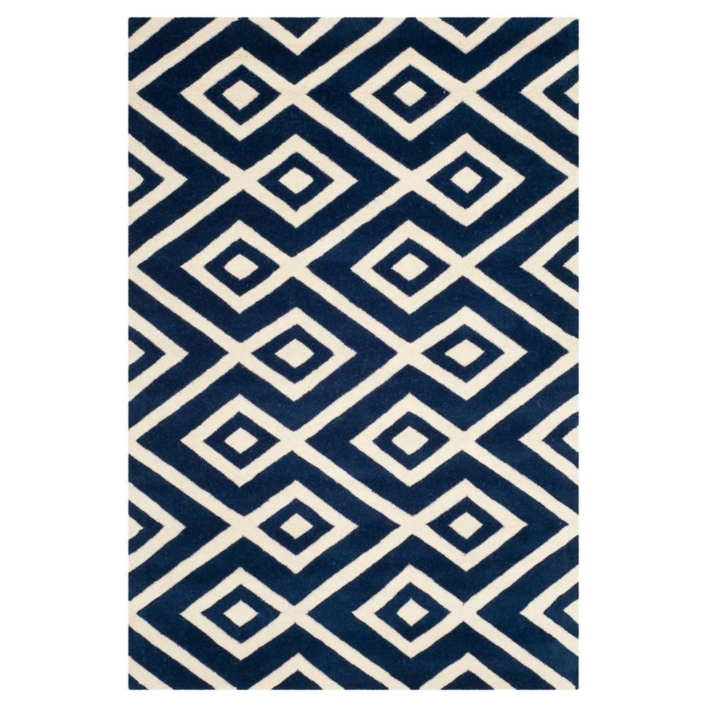 4'X6' Geometric Area Rug Dark Blue/Ivory - Safavieh