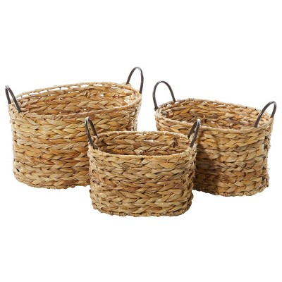 Olivia & May Set of 3 Large Oval Braided Wicker Storage Baskets with Metal Handles Natural
