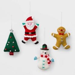 4ct Knit Plush Holiday Characters Christmas Ornament Set - Wondershop™