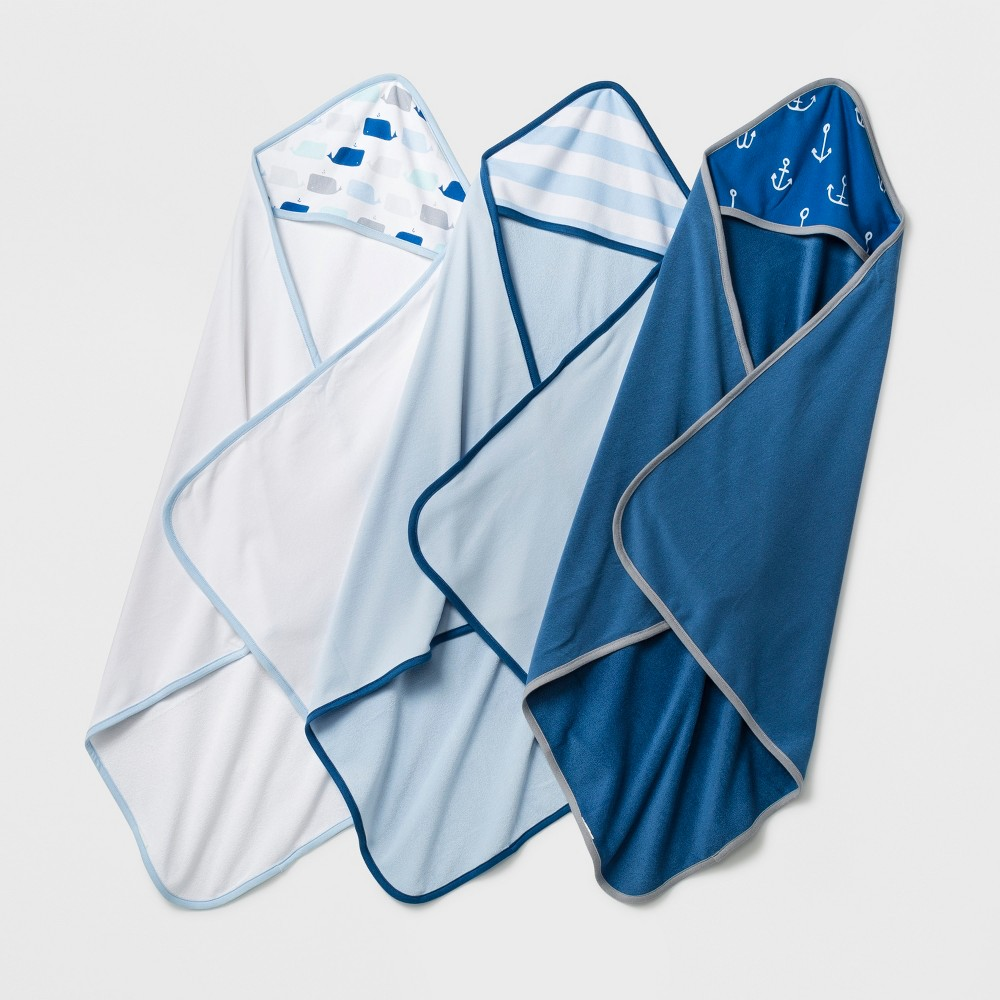 Baby Lightweight 3pk Hooded Towel Set - Cloud Island Blue