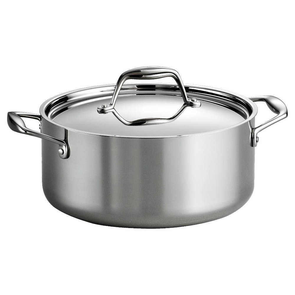Tramontina Gourmet Tri Ply Clad Induction Ready Stainless Steel 5 Qt Covered Dutch Oven