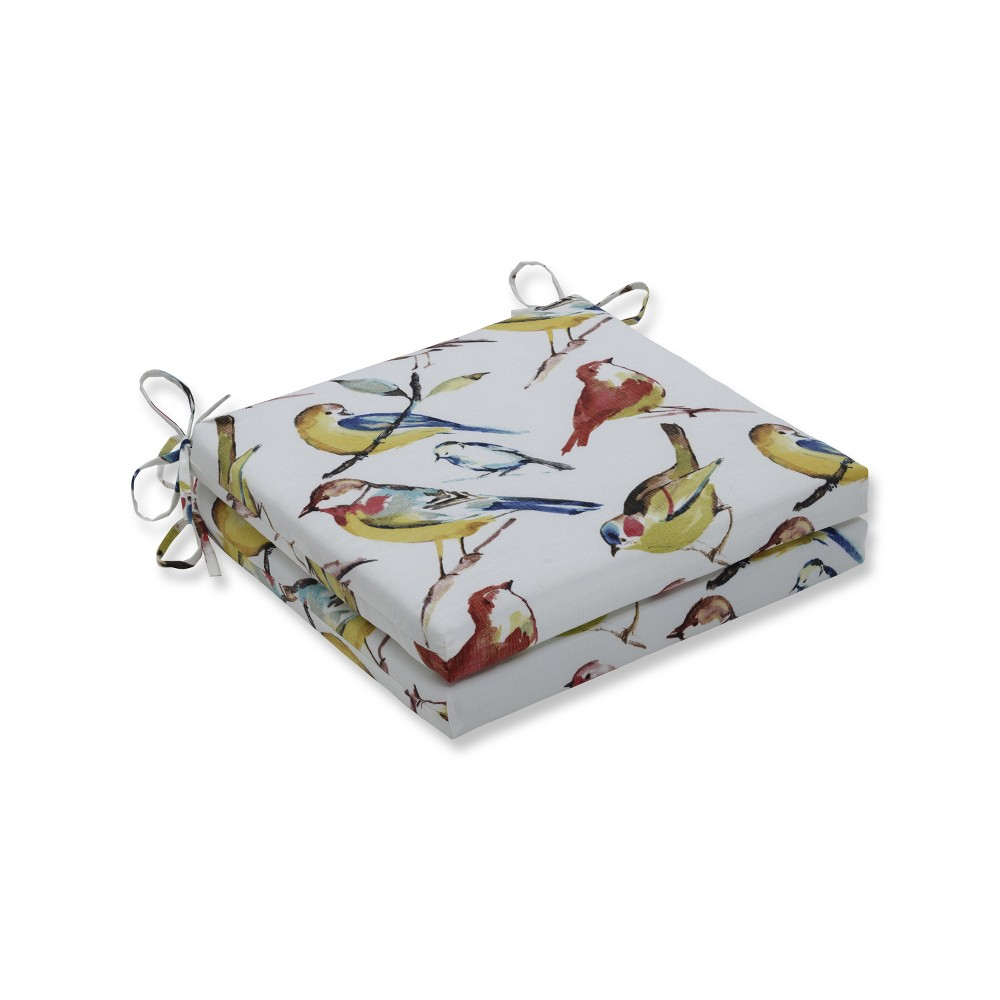 Bird Watchers 2pc Indoor/Outdoor Squared Corners Seat Cushion - Pillow Perfect, Multi-Colored