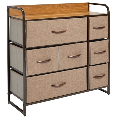 mDesign Wide Dresser Storage Chest, 7 Fabric Drawers