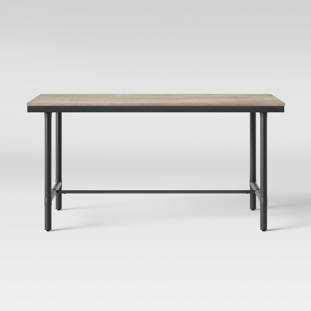 60 Danvers Farmhouse Dining Table Black Metal and Gray Wash - Threshold