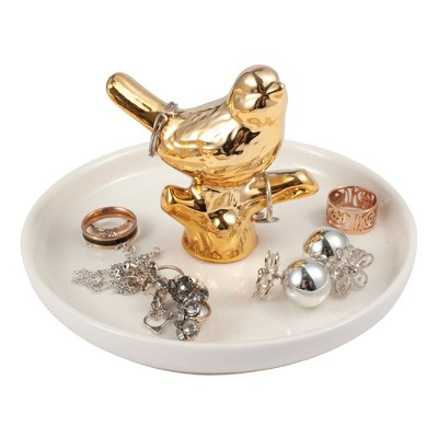 Zodaca Gold Ceramic Ring Holder, Handmade Jewelry Organizer Tray Trinket Dish for Vanity, Bird