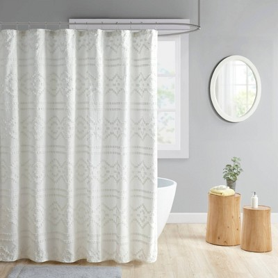 Jemma Clipped Jacquard Shower Curtain Ivory