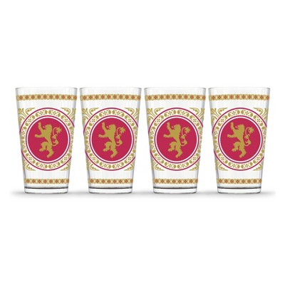 Game of Thrones Lannister Pint Glasses 16oz - Set of 4
