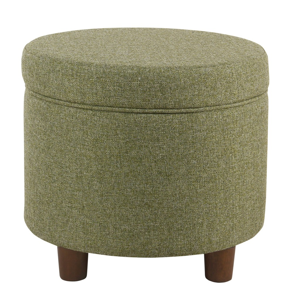 Round Storage Ottoman Green Tweed - Homepop was $104.99 now $78.74 (25.0% off)