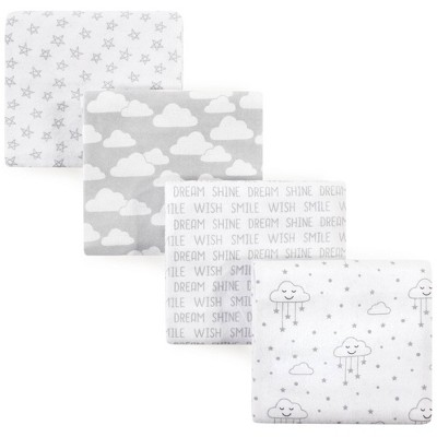 Hudson Baby Unisex Baby Cotton Flannel Receiving Blanket - Gray Clouds One Size